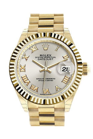 Rolex Datejust 28 Silver Roman Dial Fluted Bezel President Ladies Watch 279178