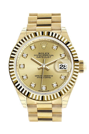 Rolex Datejust 28 Champagne Diamond Dial Fluted Bezel President Ladies Watch 279178