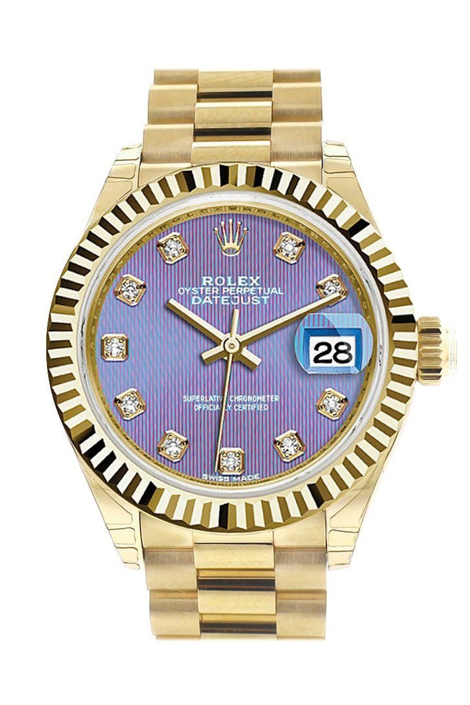 Rolex Datejust 28 Lavendar Diamond Dial Fluted Bezel President Ladies Watch 279178