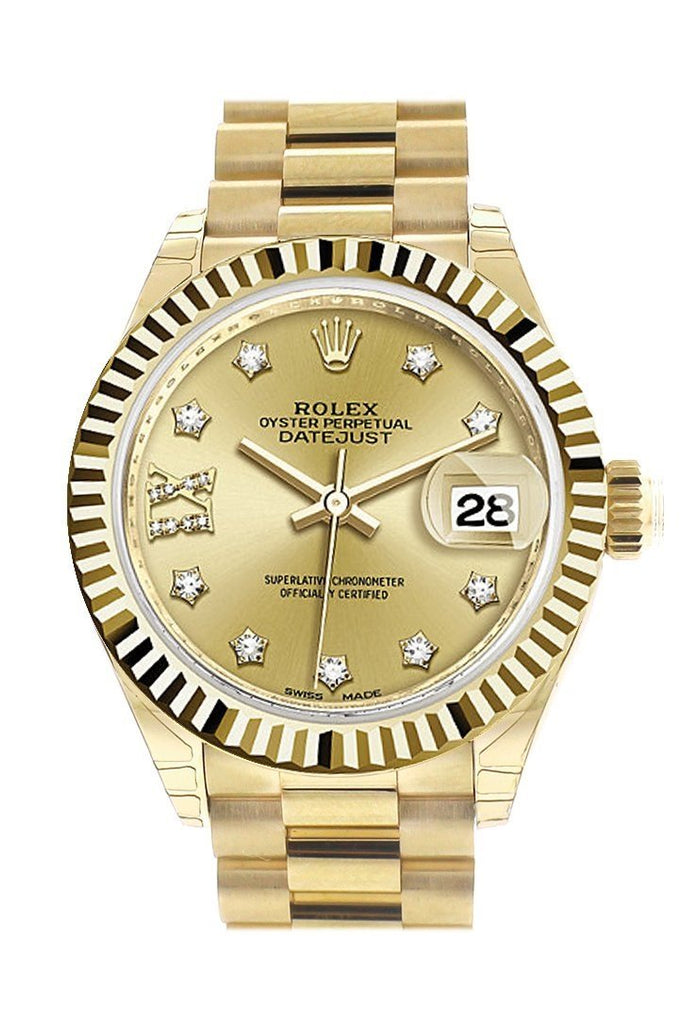 Rolex Datejust 28 Champagne Star Fluted Dial Diamond Bezel President Ladies Watch 279178