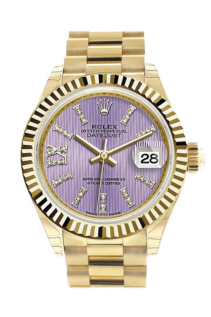 Rolex Datejust 28 Lilac Large Roman Diamond Dial Fluted Bezel President Ladies Watch 279178