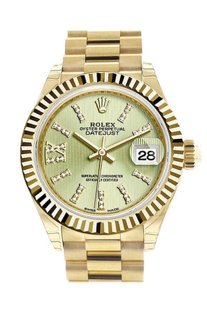Rolex Datejust 28 Linden Large Roman Diamond Dial Fluted Bezel President Ladies Watch 279178