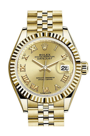 Rolex Datejust 28 Champagne Roman Dial Fluted Bezel Jubilee Ladies Watch 279178 / None