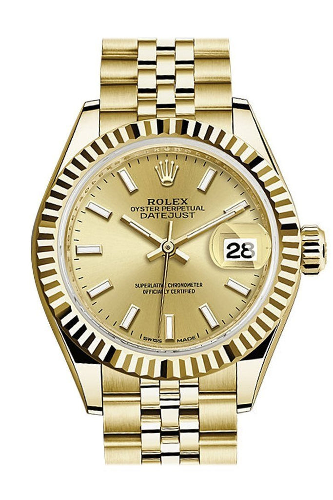 Rolex Datejust 28 Champagne Dial Fluted Bezel Jubilee Ladies Watch 279178 / None