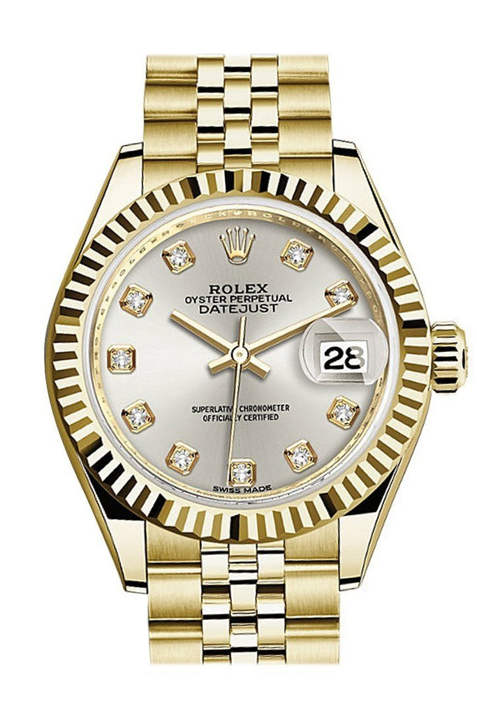 Rolex Datejust 28 Silver Diamond Dial Fluted Bezel Jubilee Ladies Watch 279178 / None