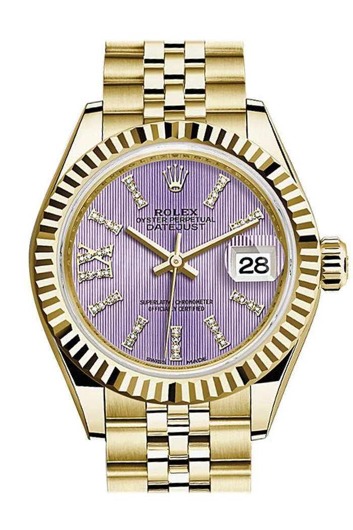 Rolex Datejust 28 Lilac Large Roman Diamonds Dial Fluted Bezel Jubilee Ladies Watch 279178