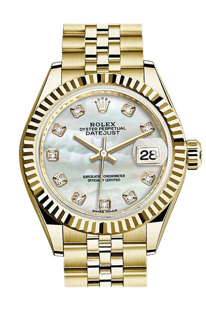 Rolex Datejust 28 Mop Pearl Dia Diamond Dial Fluted Bezel Jubilee Ladies Watch 279138Rbr / None