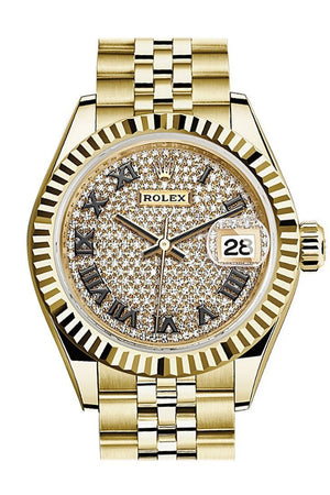Rolex Datejust 28 Diamond Paved Dial Fluted Bezel Jubilee Ladies Watch 279178 / None