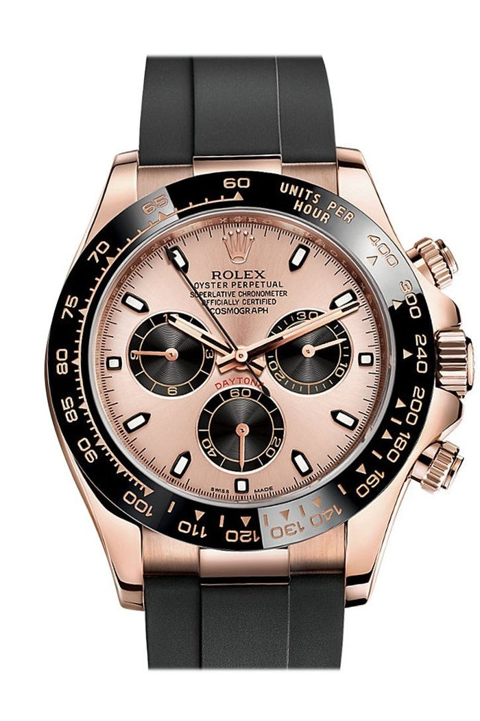Rolex Cosmograph Daytona Pink and black Dial Oysterflex Strap Mens Everose Watch 116515LN