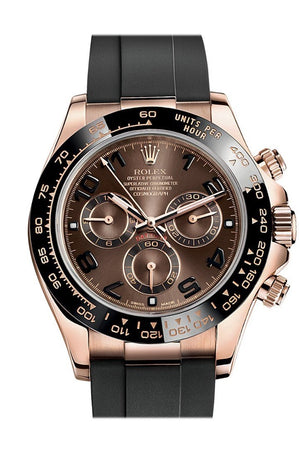 Rolex Cosmograph Chocolate And Black Dial Oysterflex Strap Mens Everose Watch 116515Ln