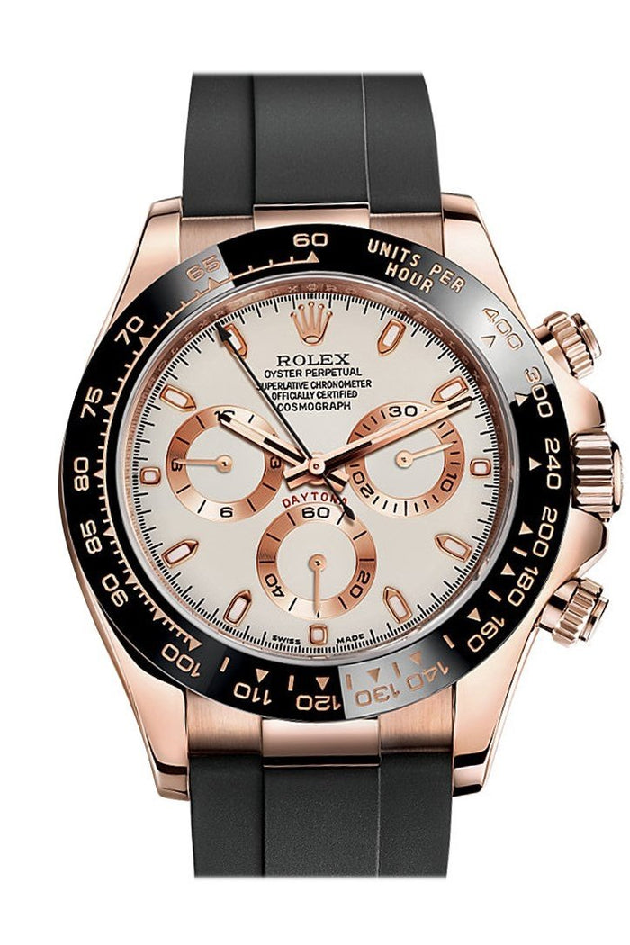 Rolex Cosmograph Daytona Ivory-coloured Dial Oysterflex Strap Mens Everose Watch 116515LN