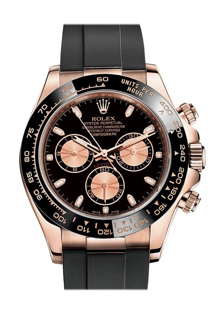 Rolex Cosmograph Daytona Black and pink Dial Oysterflex Strap Mens Everose Watch 116515LN