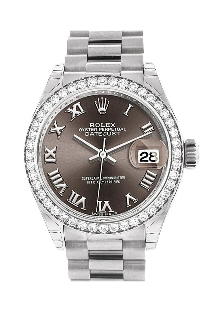 Rolex Datejust 28 Dark Grey Roman Dial Diamond Bezel President Ladies Watch 279136Rbr