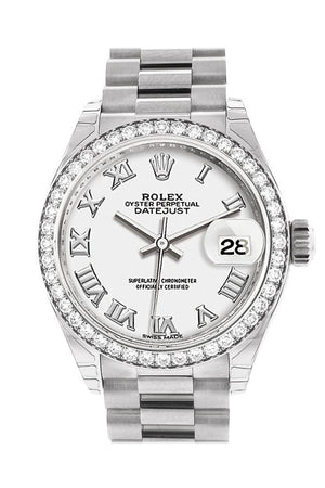 Rolex Datejust 28 White Roman Dial Diamond Bezel President Ladies Watch 279136Rbr
