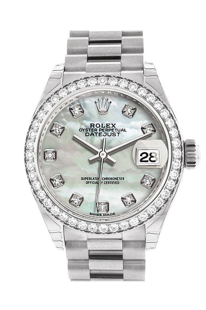 Rolex Datejust 28 Pearl Diamond Dial Bezel President Ladies Watch 279136Rbr