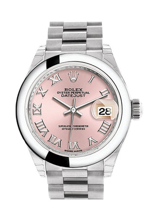 Rolex Datejust 28 Pink Roman Dial Dome Bezel President Ladies Watch 279166
