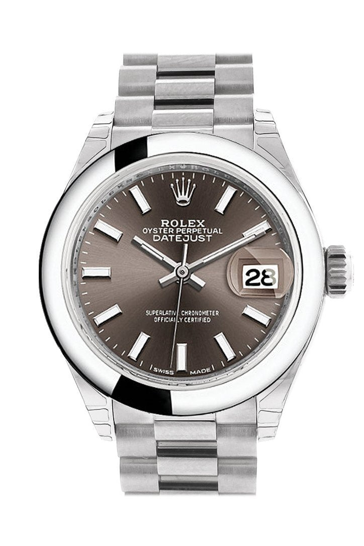 Rolex Datejust 28 Dark Grey Dial Dome Bezel President Ladies Watch 279166