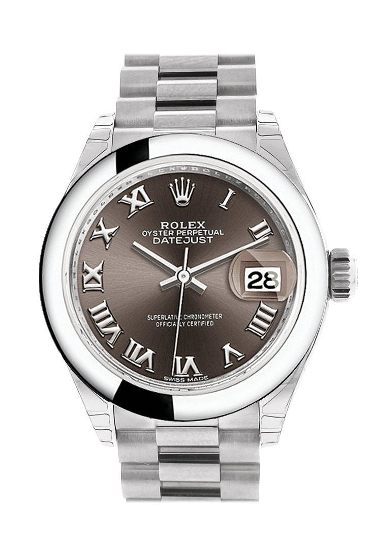 Rolex Datejust 28 Dark Grey Roman Dial Dome Bezel President Ladies Watch 279166