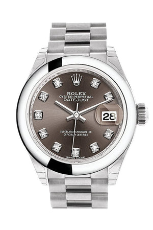 Rolex Datejust 28 Dark Grey Set With Diamonds Dial Dome Bezel President Ladies Watch 279166