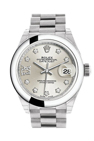 Rolex Datejust 28 Silver Diamond Set In Star Dial Dome Bezel President Ladies Watch 279166
