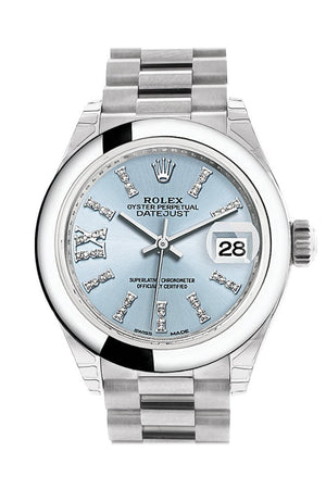 Rolex Datejust 28 Ice Blue Diamond Set In Roman Dial Dome Bezel President Ladies Watch 279166
