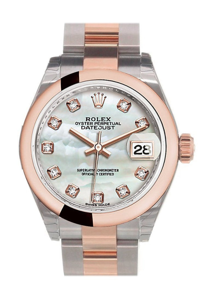 Rolex Datejust 28 Mother Of Pearl Diamond Dial Ladies Watch 279161