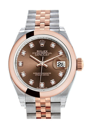 Rolex Datejust 28 Chocolate Diamond Dial Jubilee Ladies Watch 279161