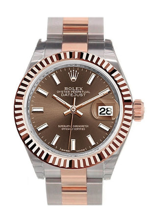 Rolex Datejust 28 Chocolate Dial Fluted Bezel Oyster Ladies Watch 279171