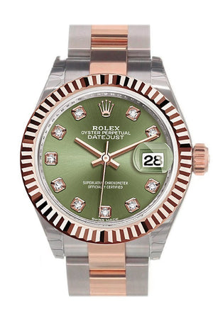 Rolex Datejust 28 Olive Green Diamond Fluted Bezel Dial Oyster Ladies Watch 279171