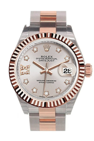 Rolex Datejust 28 Sundust 9 Diamonds Set In Star Dial Fluted Bezel Oyster Ladies Watch 279171