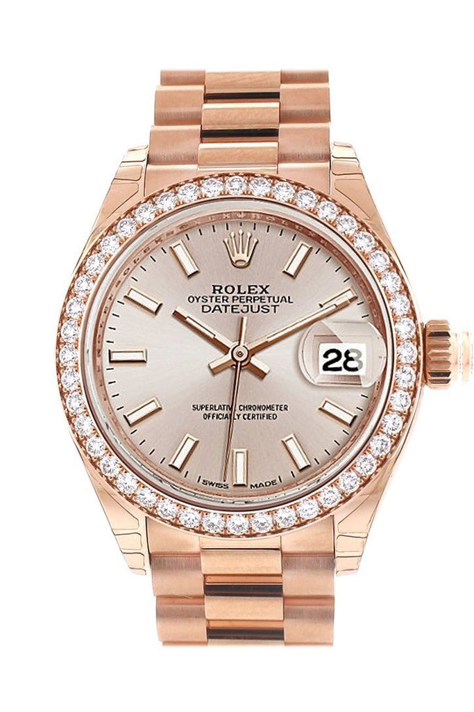 Rolex Datejust 28 Sundust Dial Diamond Bezel Rose Gold President Ladies Watch 279135Rbr
