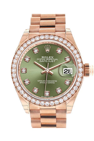 Rolex Datejust 28 Olive Green Diamond Dial Bezel Rose Gold President Ladies Watch 279135Rbr / None