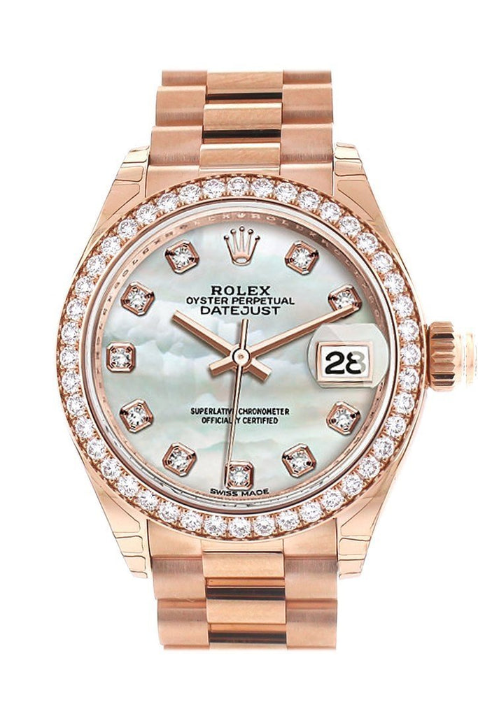 Rolex Datejust 28 Pearl Set With Diamond Dial Bezel Rose Gold President Ladies Watch 279135Rbr /