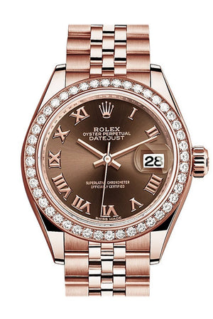 Rolex Datejust 28 Chocolate Roman Dial Diamond Bezel Rose Gold Jubilee Ladies Watch 279135Rbr / None