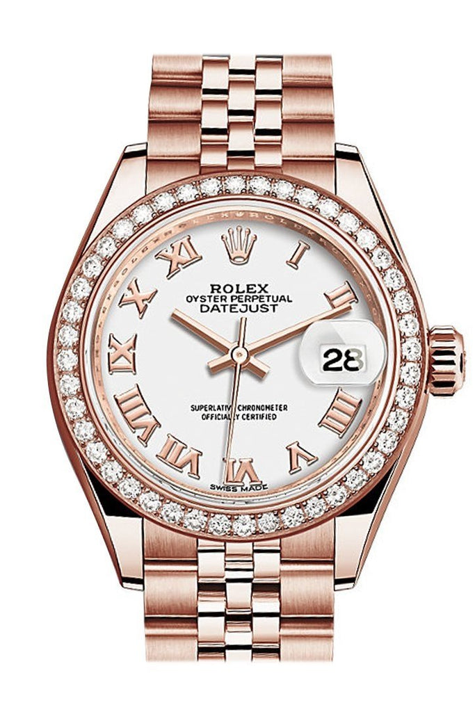 Rolex Datejust 28 White Roman Dial Diamond Bezel Rose Gold Jubilee Ladies Watch 279135Rbr / None