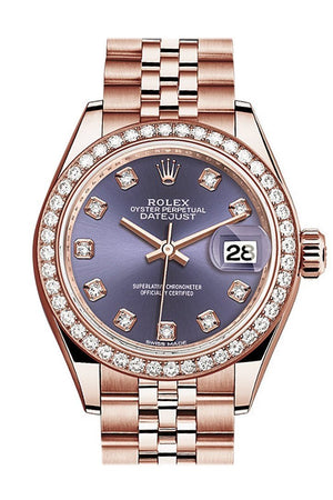 Rolex Datejust 28 Aubergine Diamond Dial Bezel Rose Gold Jubilee Ladies Watch 279135Rbr / None