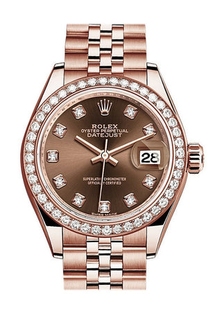 Rolex Datejust 28 Chocolate Diamond Dial Bezel Rose Gold Jubilee Ladies Watch 279135Rbr / None