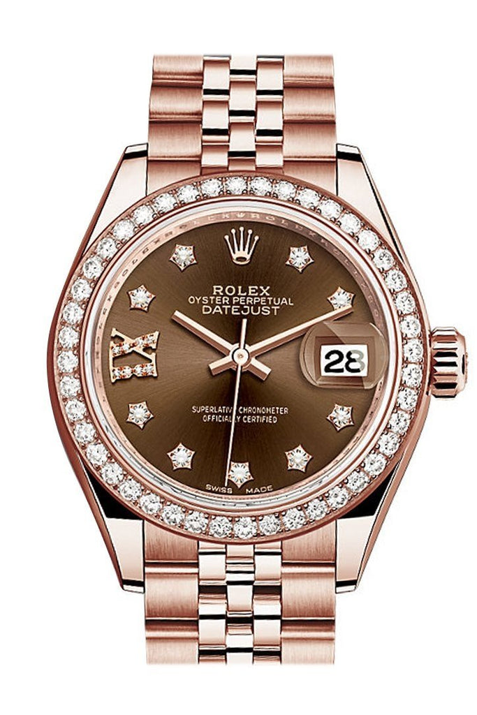Rolex Datejust 28 Chocolate 9 Diamonds Set In Star Dial Diamond Bezel Rose Gold Jubilee Ladies Watch