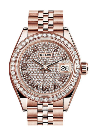 Rolex Datejust 28 Diamond Paved Roman Dial Bezel Rose Gold Jubilee Ladies Watch 279135Rbr / None