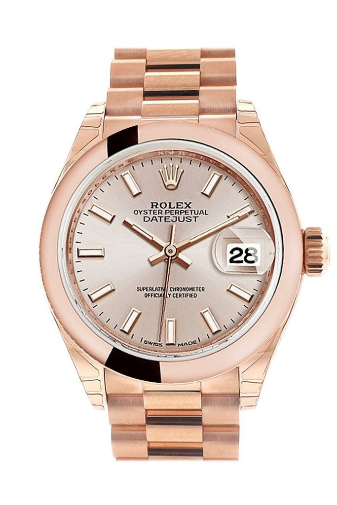 Rolex Datejust 28 Sundust Dial Rose Gold President Ladies Watch 279165 / None