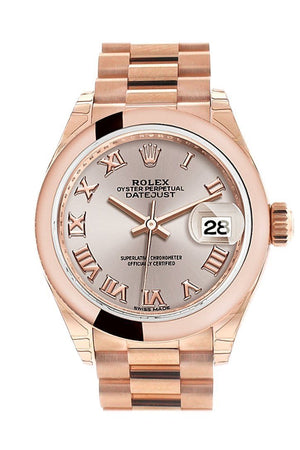 Rolex Datejust 28 Sundust Roman Dial Rose Gold President Ladies Watch 279165 / None