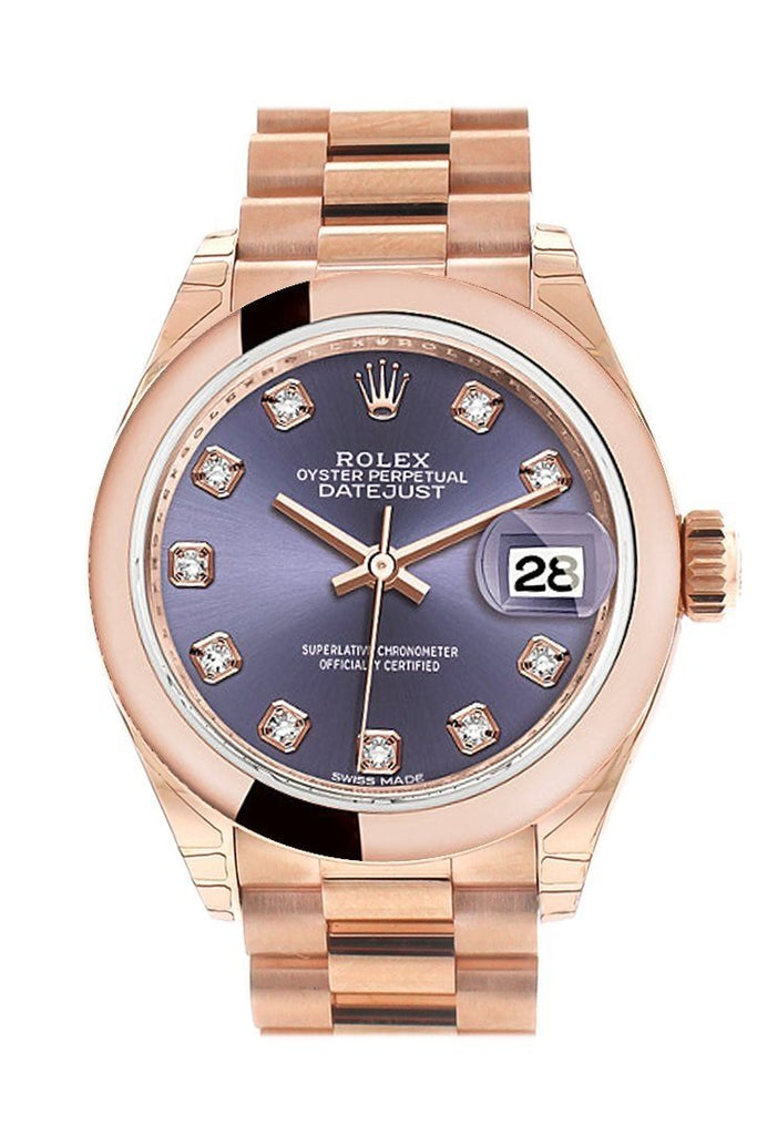 Rolex Datejust 28 Aubergine Diamond Dial Rose Gold President Ladies Watch 279165 / None
