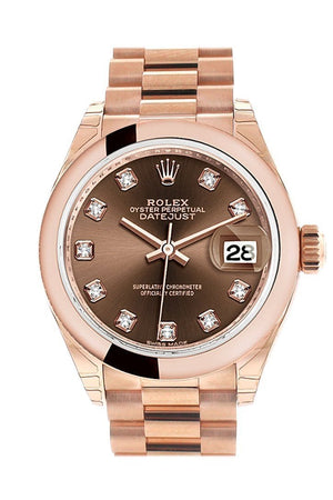 Rolex Datejust 28 Chocolate Diamond Dial Rose Gold President Ladies Watch 279165 / None