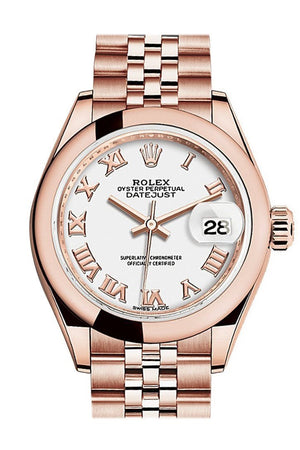 Rolex Datejust 28 White Roman Dial Rose Gold Jubilee Ladies Watch 279165 / None
