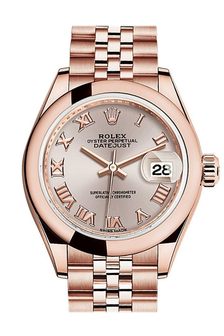 Rolex Datejust 28 Sundust Roman Dial Rose Gold Jubilee Ladies Watch 279165 / None