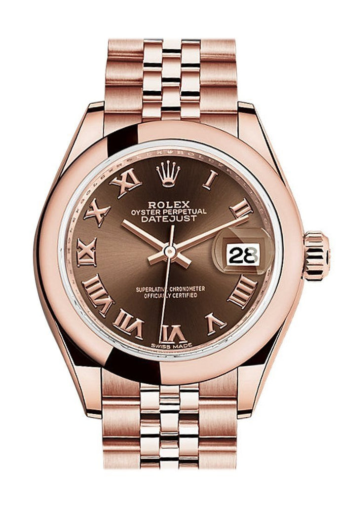 Rolex Datejust 28 Chocolate Roman Dial Rose Gold Jubilee Ladies Watch 279165 / None