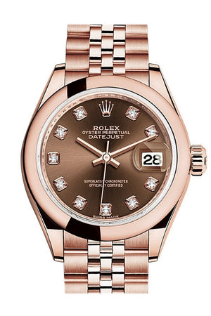 Rolex Datejust 28 Chocolate Diamond Dial Rose Gold Jubilee Ladies Watch 279165 / None