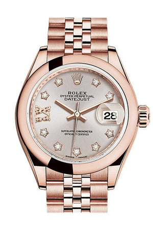 Rolex Datejust 28 Sundust 9 Diamonds Set In Star Dial Rose Gold Jubilee Ladies Watch 279165 / None