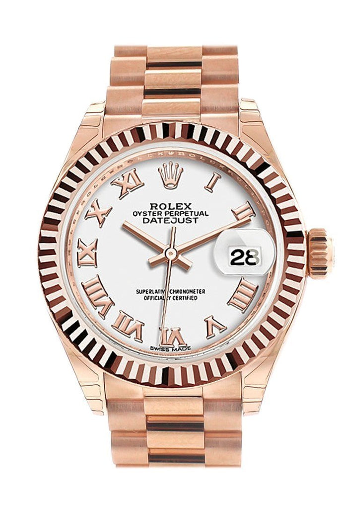 Rolex Datejust 28 White Roman Dial Fluted Bezel Rose Gold President Ladies Watch 279175 / None