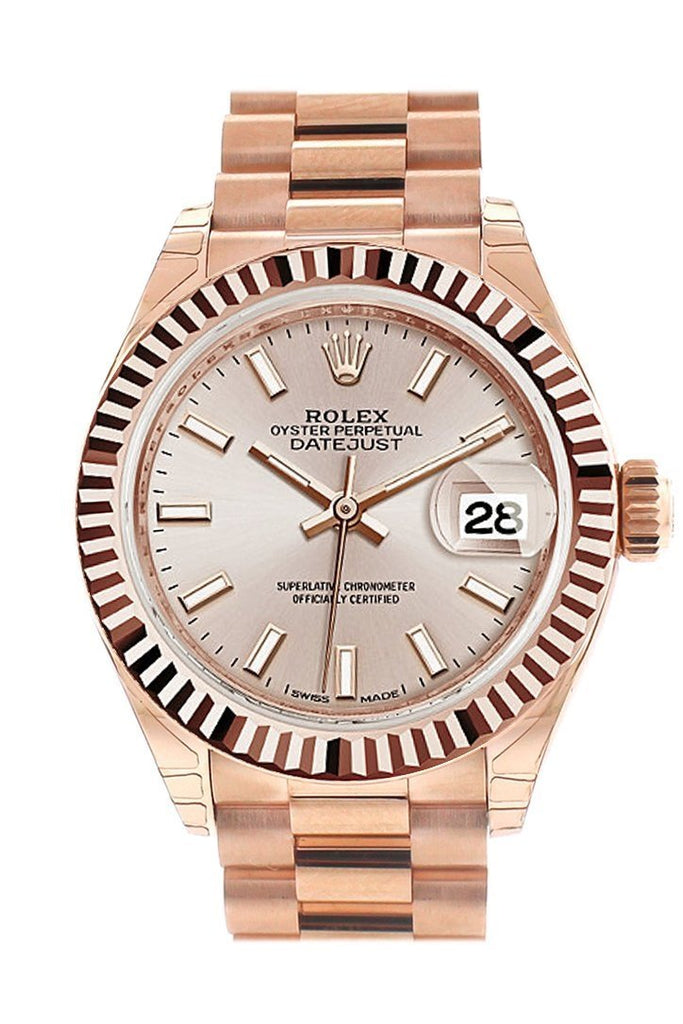 Rolex Datejust 28 Sundust Dial Fluted Bezel Rose Gold President Ladies Watch 279175 / None